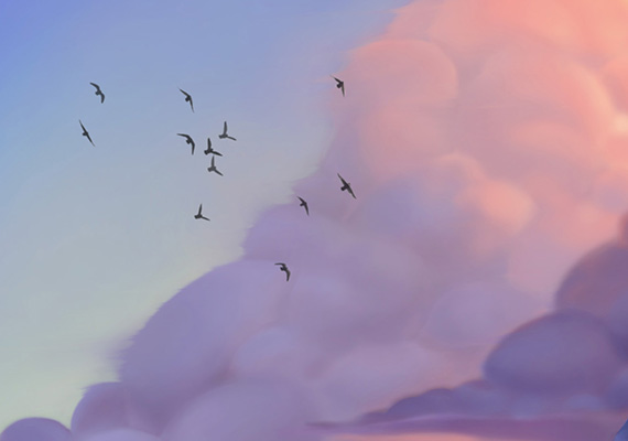 Clouds and atmospheric effects assignment from the Schoolism class 'Advanced lighting with Sam Nielson'