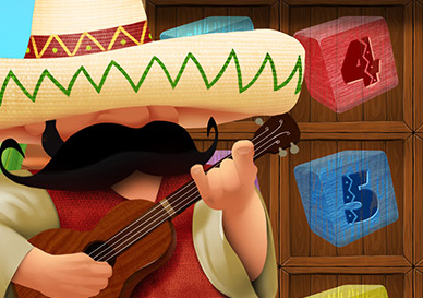 Design for an online slot game with a Mexican theme.