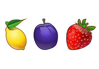 Fruit icons to be used in slots games.