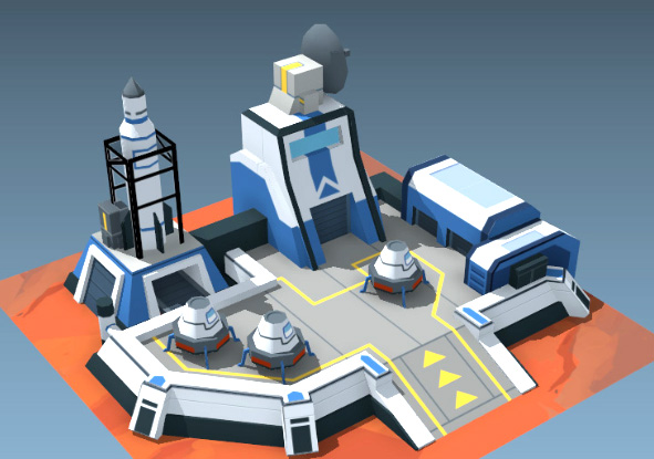 Spaceport model for an unannounced mobile game.